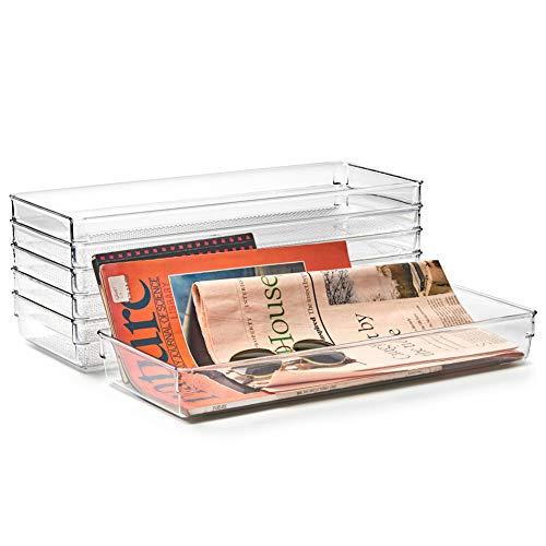 EZOWare Set van 6 lades Organizer Tray Set, grote brede doorzichtige plastic container opbergbakken voor ijdelheid, bureau, keuken, badkamer, cosmetica, make-up, kast - 40 x 16 x 5,1 cm