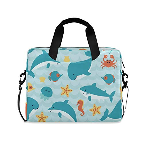 XIXIKO Ocean Animal Dolphin Starfish Laptop Bag Expandable Trolley Briefcase Bag for Women Men with Detachable Strap for Work Trip Business Travel iPad MacBook