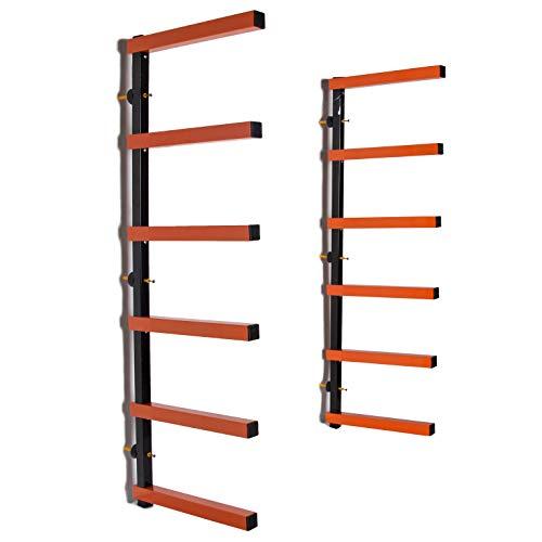 HECASA Wall-Mounted Lumber Storage Rack 6 Level 600Lb Wood Rack Organizer 600 lb