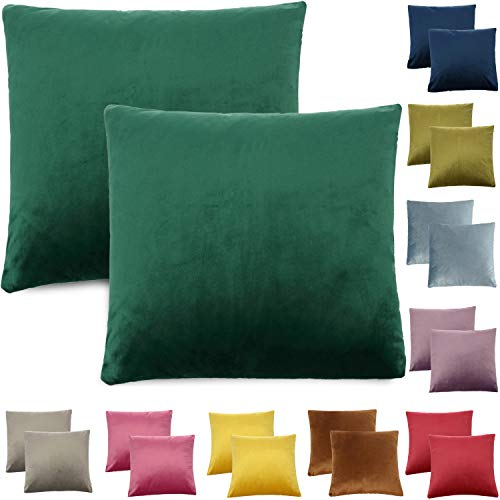 CALIYO - Funda de cojín de Terciopelo, Universal, 2 o 3 Fundas de Almohada para Cojines Decorativos, Cojines de sofá, Cojines de sofá, 45 x 45 cm, Muchos Colores, Verde Botella, 40 x 40 cm