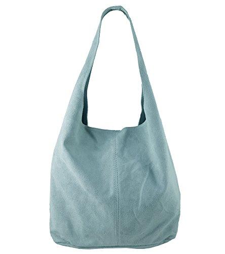 Freyday Damen Ledertasche Shopper Wildleder Handtasche Schultertasche Beuteltasche Metallic look (Hellblau)