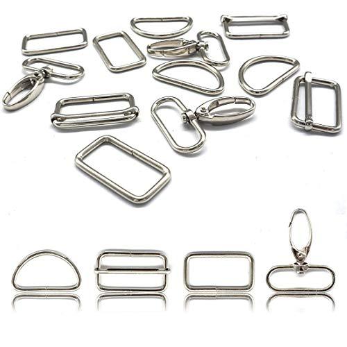 HEEFEN 40 Stück Metall Schlüsselanhänger Bulk Drehgelenk Karabinerhaken D-Ring Metall Gurtversteller Set DIY Handwerk für Gurt, Rucksack, Bastelzubehör (32mm)