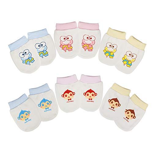 KATOOM 6 Paires couverture de main Nouveau né en Coton épais Moufles bébé Naissance Mitaines de Protection Pour Baby 0-12 mois Filles Garçons (blanc)