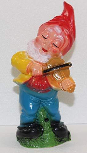 OM Gartenzwerg Deko Garten Figur Zwerg mit Geige und Bewegungsmelder Happy Birthday aus Kunststoff Höhe 31 cm