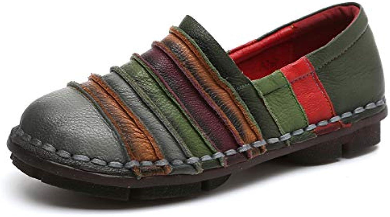 Qiusa Regenbogen Schuhe für Frauen Bunte Leder Flache Bequeme Slip auf Loafers (Farbe   Grau, Gre   EU 41)