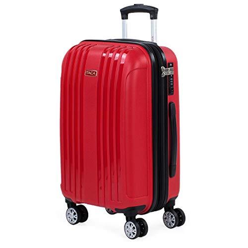 ITACA - Maleta de Cabina Expandible para Viaje Rígida con Ruedas Dobles Fabricada en Polipropileno con Cerradura TSA, Ligeras 760250, Color Rojo