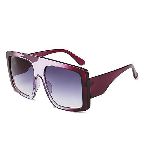 YOULIER Moda tendencia cuadrado gafas de sol mujeres gradiente marco de gran tamaño gafas de sol sombra para señora femininos púrpuraDoubleGray