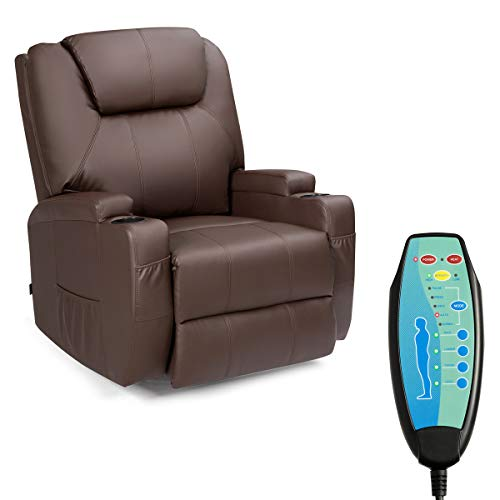 Tangkula Electric Massage Recliner Chair, 360 Degree Swivel Heated Chair,...