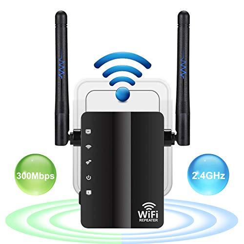 NETVIP WiFi 中継器 無線LAN中継機 Wi-FiレンジエクステンダWifiブースター信号増幅器 リピーター/AP 2モード 2.4GHz 300Mbpsに対応外部アンテナ付き コンセント直挿型 (ブラック )