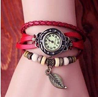 Genuine Leather Hand Knit Vintage Watches,bracelet Wristwatches Leaf Pendant(Red)