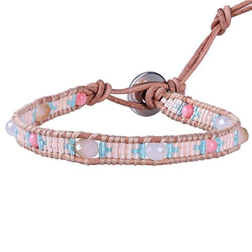 KELITCH Bohémien Cristal Perles Et Perles De Rocaille Tissu Cuir Bracelets