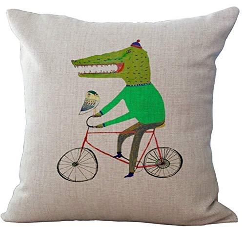 BUXI Printing Fundas de Almohada Aligator Verde en la Funda de cojín de Bicicleta Sofá casero Decorativo 45x45cm