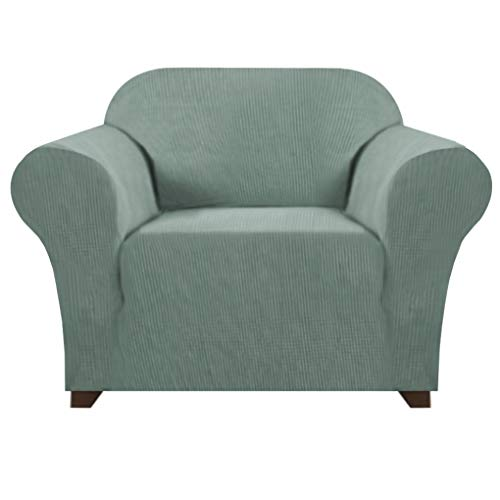 Super Stretch Sofa Slipcover 1 Piece Sofa Cover Armchair Cover Protector with Spandex Jacquard Fabric Small Checks Sofa Covers/Furniture Covers for Leather Sofa (Chair Sofa, Dark Cyan)
