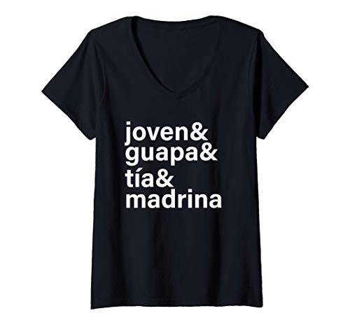 Mujer Joven, Guapa, Tia y Madrina Regalo Para Tia, Abuela, Amiga Camiseta Cuello V