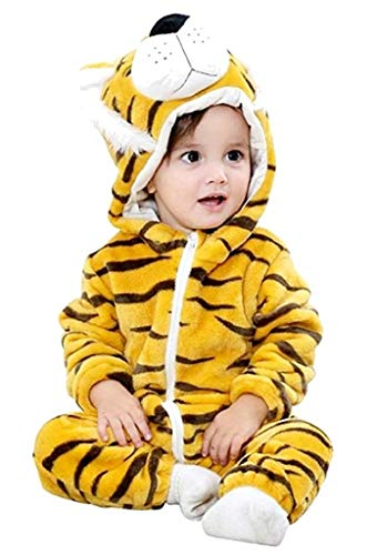 Costume Tigrotto Carnevale Bambino Tutone Tigre Senza Piedi Caldo Pigiamone (Taglia 90 Cm) Travestimento Cosplay Ottimo Regalo Per Natale O Compleanno