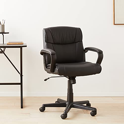 Amazon Basics Ergonomic Office Desk Chair with Armrests, Adjustable Height/Tilt, 360-Degree Swivel, 275Lb Capacity - Black