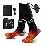 FOTFLACE Beheizte Socken für Herren Damen Beheizbare Socken mit 4200mAh Wiederaufladbare Batterie, 3 Einstellbarer Temperatur Heizsocken für Camping/Angeln/Radfahren/Skifahren
