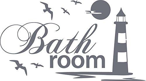 graz-design Wandtattoo Badtattoo Bathroom mit Leuchtturm | Wand-Aufkleber für Dein Bad und WC | Tür-Schild Wellness-Aufkleber | auch für Spiegel - Fenster- Dusche geeignet (54x30cm // 071 grau)