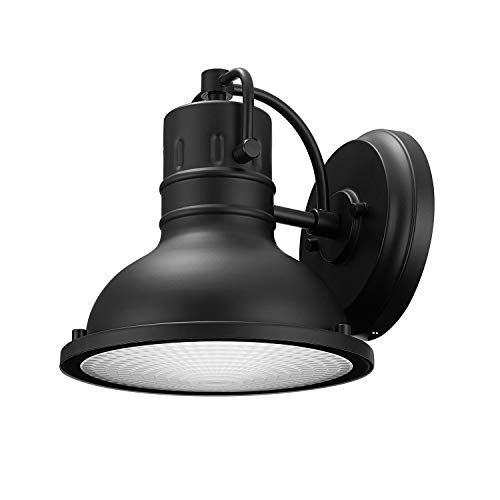 Globe Electric Harbor 1-Light Outdoor Wall Sconce, Matte Black Finish, Clear Plastic Diffuser, 44157