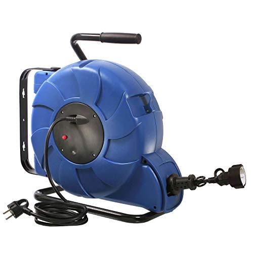 as – Schwabe Automatischer Kabelaufroller – 15 m Kupplungsleitung & 2 m Steckerzuleitung – Aufroller mit Federzug-Automatik, Schutzkontaktstecker & Schutzkontaktkupplung – IP20 – Blau I 12631