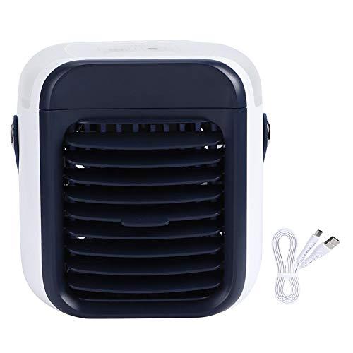 Eecoo Handheld Mini-desktop-airconditioning, kleine ventilator, draagbare stil-luchtkoeler, USB-opladen DC5V zichtbaar waterreservoir, capaciteit 300 ml, met kleurrijke nachtlampjes
