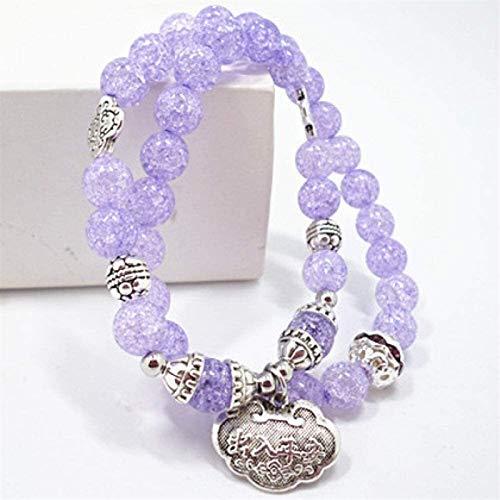 JPSOUP Pulsera de Piedra Mujer, 7 Chakra Perlas de Piedra Natural Púrpura Cristal Cristal Elástico Largo Brazalete Bloqueo Colgante Joyería Yoga Energía Energía Reiki Rezar Charm Regalo para Pareja