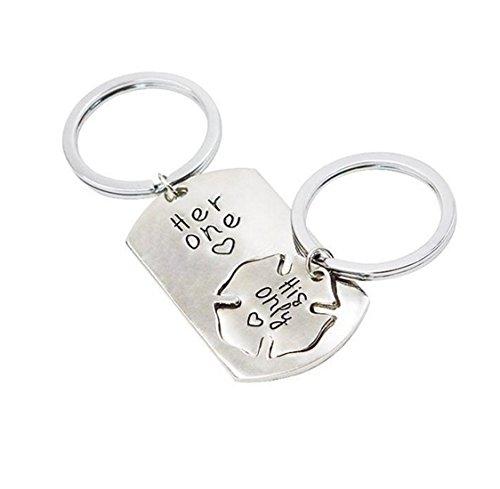 Fengteng seul 2 pièces amateurs de puzzle Keychain Amour Coutures Couple Collier (Porte-clés)
