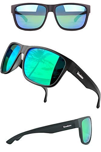 Verdster Gafas de sol Polarizadas XL Para Hombres - Lentes Espejados - Protección UV - Incluye Un Estuche Duro, Funda Suave Y Un Pañuelo