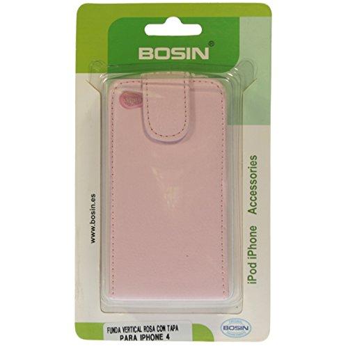 BOSIN - Funda Vertical Rosa con Tapa para iPhone 4