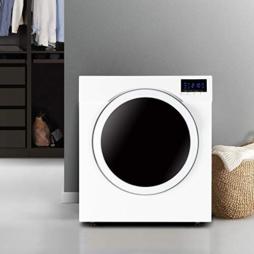 13LBS Portable Clothes Dryer, 3.22 Cu.Ft Compact Front Load Tumble Laundry Dryer w/Stainless Steel Tub, High End Button Control w/LCD Screen, 1500W