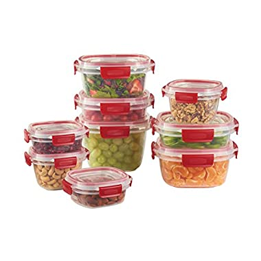 Rubbermaid Easy Find Lids 18-Piece Food Storage Container Set, Clear with Red Tabs