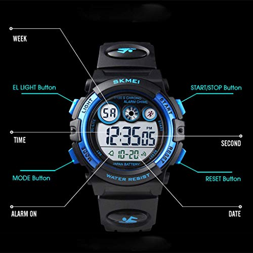 Skmei Kids Sports Watch, Multi Function Digital Kids Watches Waterproof LED Light Wristwatches for Boys Girls (Black)