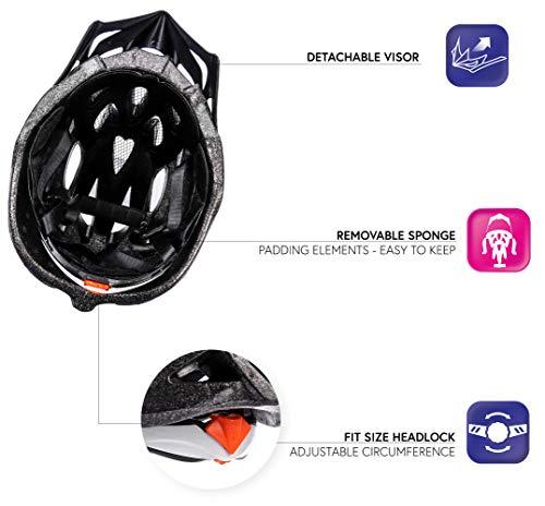 meteor Fahrradhelm Herren Damen Kinder-Helm MTB rollerhelm kinderfahrradhelm Mountainbike rennradhelm Inliner skaterhelm BMX fahradhelm Scooter Jungen Bike Helmet XL 61-63 cm Schwarz/Weiß - 6