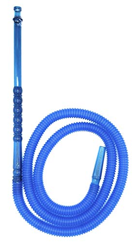 60 Inches Disposable Hookah Hose, Washable and Easy to Clean, Fits Any Glass or Plastic Hookah Set, Hard Plastic Handle with Excellent Air Flow - Pick Your Color. (Blue)