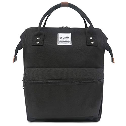 Oflamn Zaino Scuola Vintage per Uomo e Donna - Zaino Laptop per 14' - Zaino da Viaggio in Tela - Leather Canvas School Backpack (Nero)