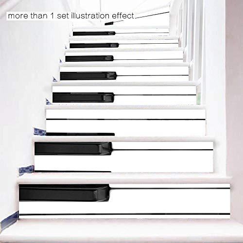 LUOaangeduid B Piano toetsen muziek klaskamer muursticker zwart-wit-pianoknoppen waterdichte trapstickers