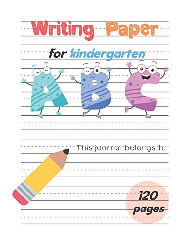 Writing Paper For Kindergarten: Handwiritng Notebook With Dotted Lined Sheet, ABC Alphabet & Number for K-3 to 3rd Grade, Large Size 8.5x11 inches, ... ABC (K-3 Handwriting Dotted Lined Sheet)