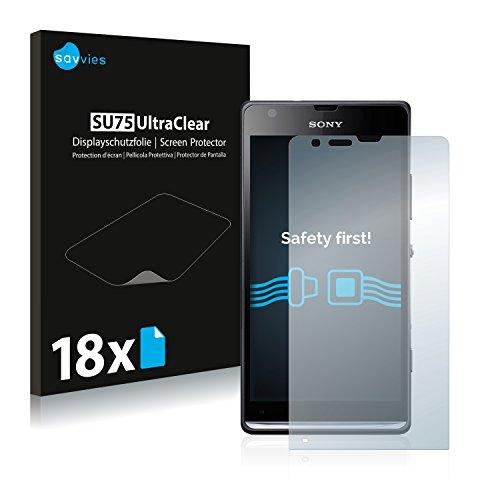 Savvies 18x Schutzfolie kompatibel mit Sony Xperia SP M35i C5303 Displayschutz-Folie Ultra-transparent