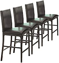Homelegance Tempe PU Upholstered Counter Height Chair (Set of 4), Dark Brown