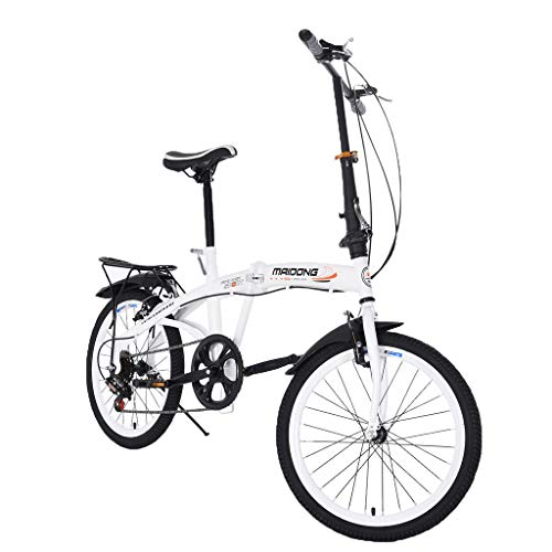 Tengma 20in Travel Bike 7-Speed Folding Mountain Bike Off-Road Students Adult Teens Men and Women Race Bike City Commuter Foldable Compact Suspension Bicycle