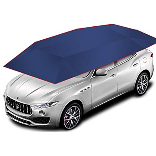 JIN 4-seizoenen Automatische Auto Tent Cover Carport Gevouwen, Auto Paraplu Tent Auto Zonnescherm met Anti-UV, Waterdichte Auto Tent met Afstandsbediening Automatisch Blauw(4.6 * 2.3m)