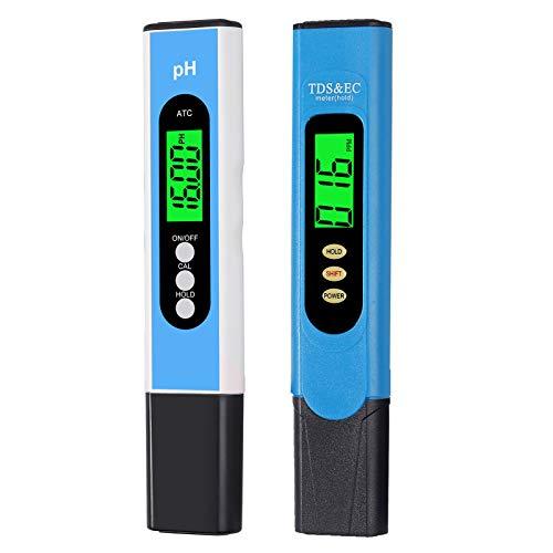 pH-Messgerät+ TDS & EC-Tester, CAMWAY pH TDS EC und Temperatur Wasserqualitätstester, mit LCD-Hintergrundbeleuchtung, für Wasserreinigern Filtern Aquarien Fischereiindustrie
