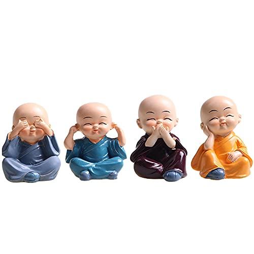 XIAOYAOJING Home Decorative Resin Miniature Statue Shaolin Little Monk Car Accessories Small Buddha Ornaments