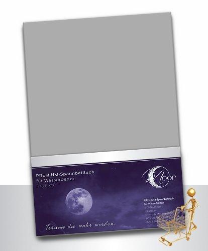 Moon Wasserbett Spannbettlaken XXL Line Silver Übergröße 200x220-220x240 190g/m² Spannbetttuch -Graphit