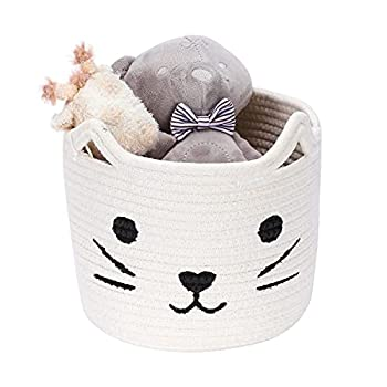 Hombins Animal Toy Basket Small Cute Nursery Hamper with Cat Design Baby Basket 8 X7  White Cotton Rope Storage Basket for Towels Toy