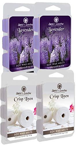 4 Pack of Soy Wax Melts - Lavender and Crisp Linen by Lottie's Landing 24 Pcs Cubed 100% Soy Wax