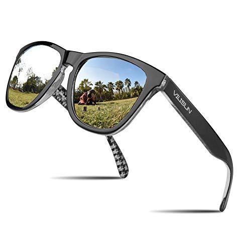 V VILISUN Polarisierte Sonnenbrille Fahrradbrille mit UV400 Schutz für Herren Damen Retro Sportbrille Autofahren Laufen Radfahren Angeln Ski Fahren Golf Radsport Premium Reisebrille