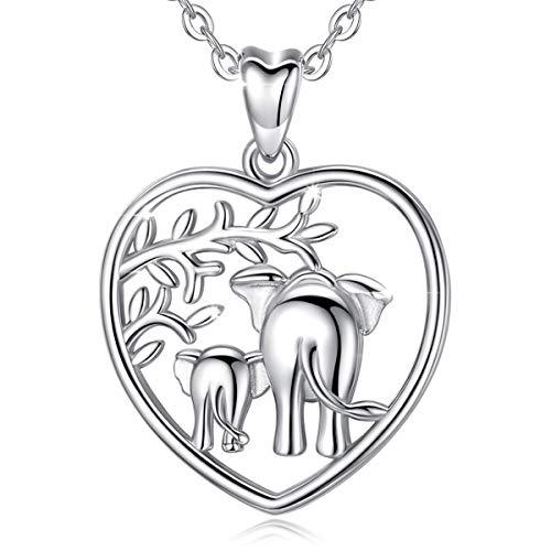 Collar de Elefante, Plata de Ley 925 Elefantes Afortunados 'Amor Familiar' Collar Colgante, 18in AEONSLOVE Joyería para Mamá