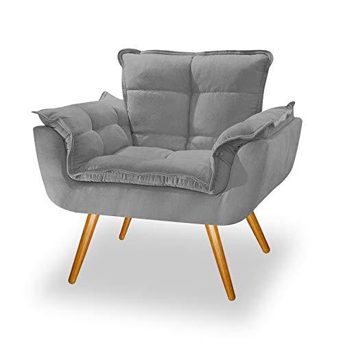 Poltrona Cadeira Decorativa Opala Corano Cinza Pés Palito para Recepção Sala de Estar Consultório Escritório Quarto - AM Decor