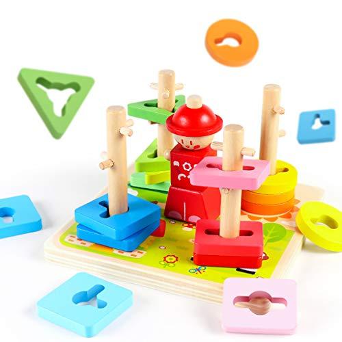 Building Block Stacked Jouets en Bois, Couleur Forme Cognitive Jouets d'apprentissage Montessori Cadeau de Jouets éducatifs pour 1 2 3 Ans Tout-Petit bébé Enfants